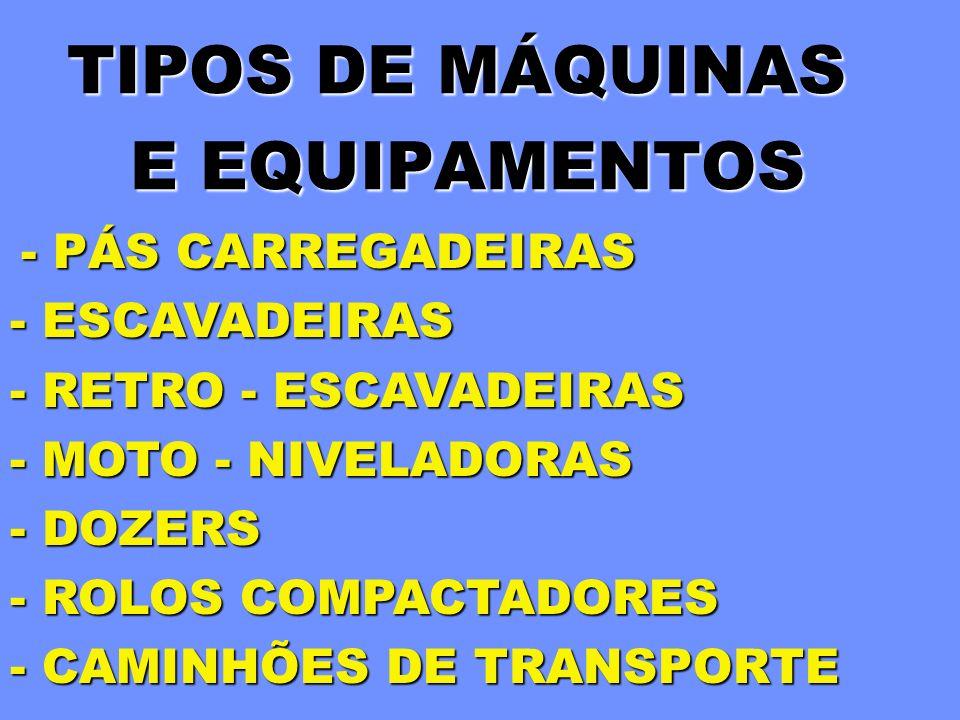 TIPOS DE MÁQUINAS E EQUIPAMENTOS