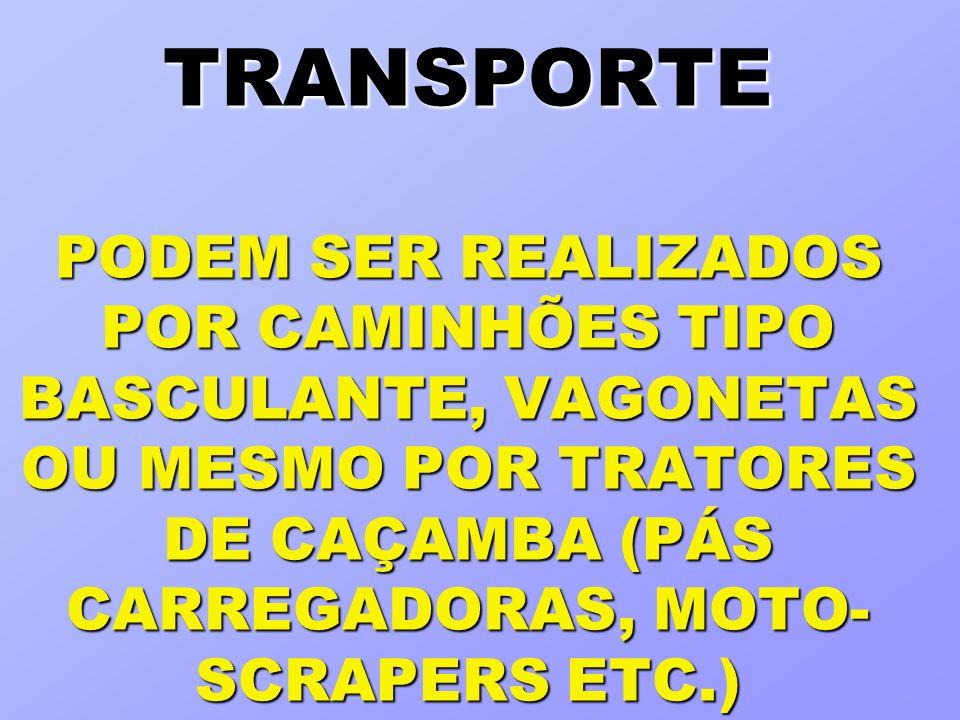 TRANSPORTE PODEM SER REALIZADOS POR CAMINHÕES TIPO BASCULANTE, VAGONETAS OU MESMO POR TRATORES DE CAÇAMBA (PÁS CARREGADORAS, MOTO- SCRAPERS ETC.)