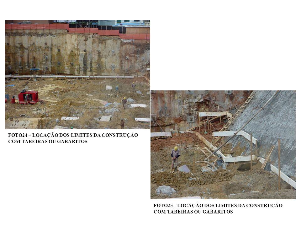 FOTO24 – LOCAÇÃO DOS LIMITES DA CONSTRUÇÃO COM TABEIRAS OU GABARITOS