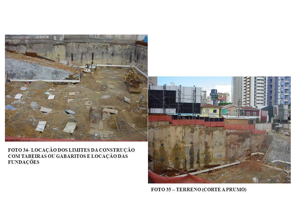 FOTO 34- LOCAÇÃO DOS LIMITES DA CONSTRUÇÃO COM TABEIRAS OU GABARITOS E LOCAÇÃO DAS FUNDAÇÕES