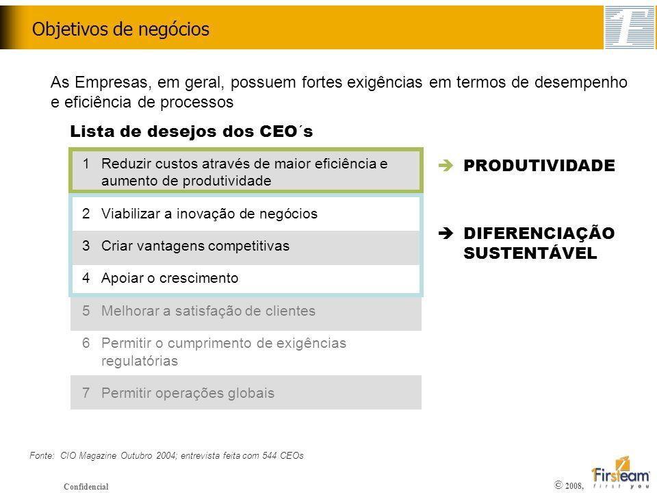 Objetivos de negócios As Empresas, em geral, possuem fortes exigências em termos de desempenho e eficiência de processos.