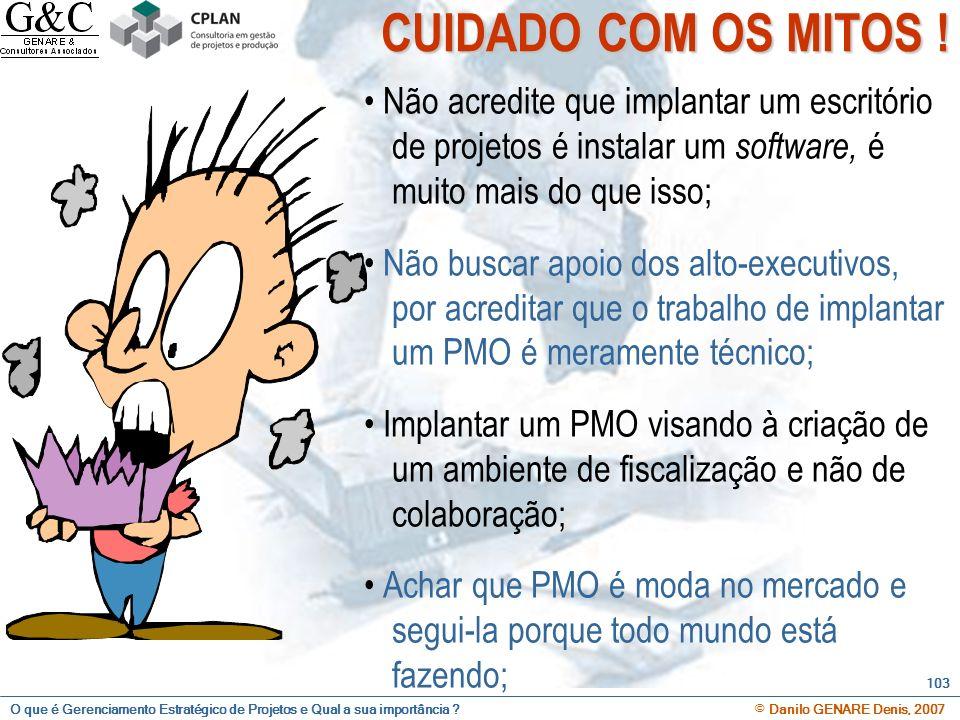 CUIDADO COM OS MITOS ! • Não acredite que implantar um escritório de projetos é instalar um software, é muito mais do que isso;