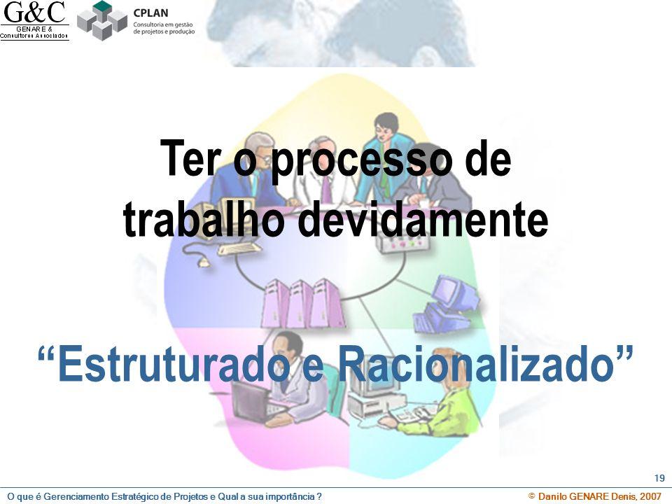 Ter o processo de trabalho devidamente Estruturado e Racionalizado