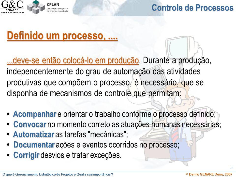 Definido um processo, .... Controle de Processos