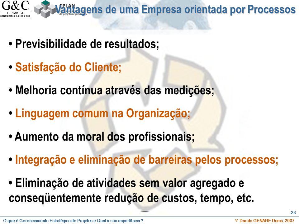 • Previsibilidade de resultados; • Satisfação do Cliente;