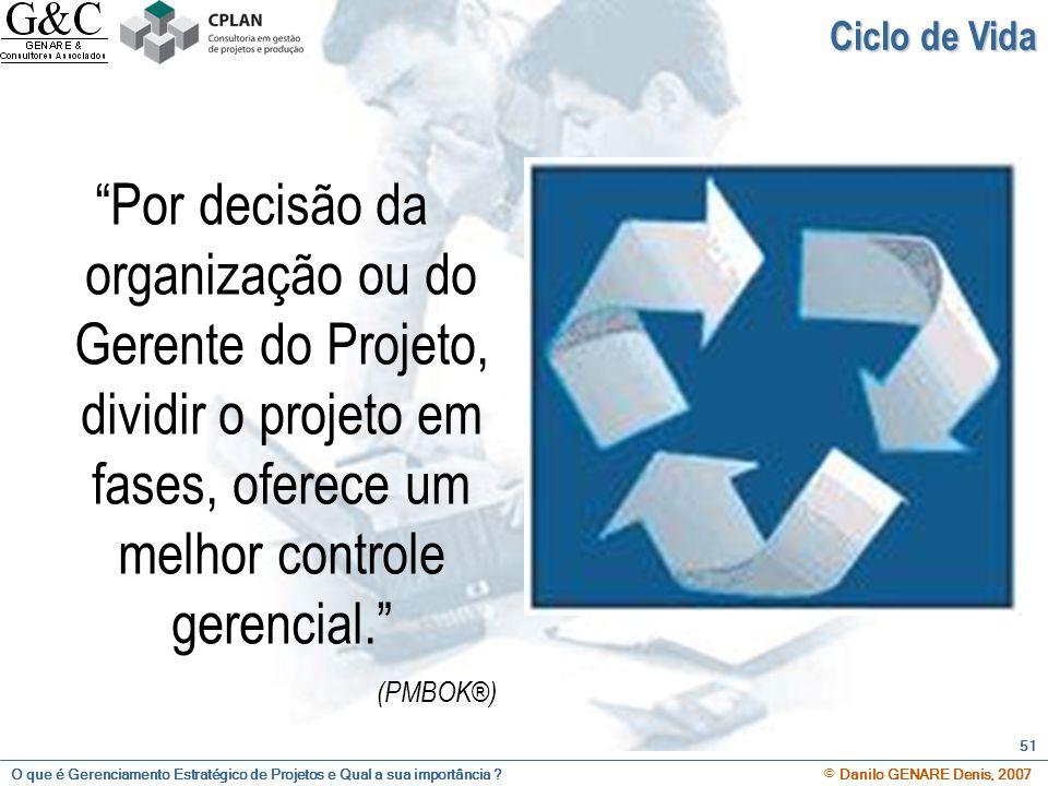 Ciclo de Vida Por decisão da organização ou do Gerente do Projeto, dividir o projeto em fases, oferece um melhor controle gerencial.