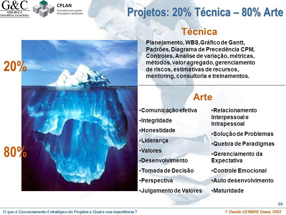 20% 80% Projetos: 20% Técnica – 80% Arte Técnica Arte 80%