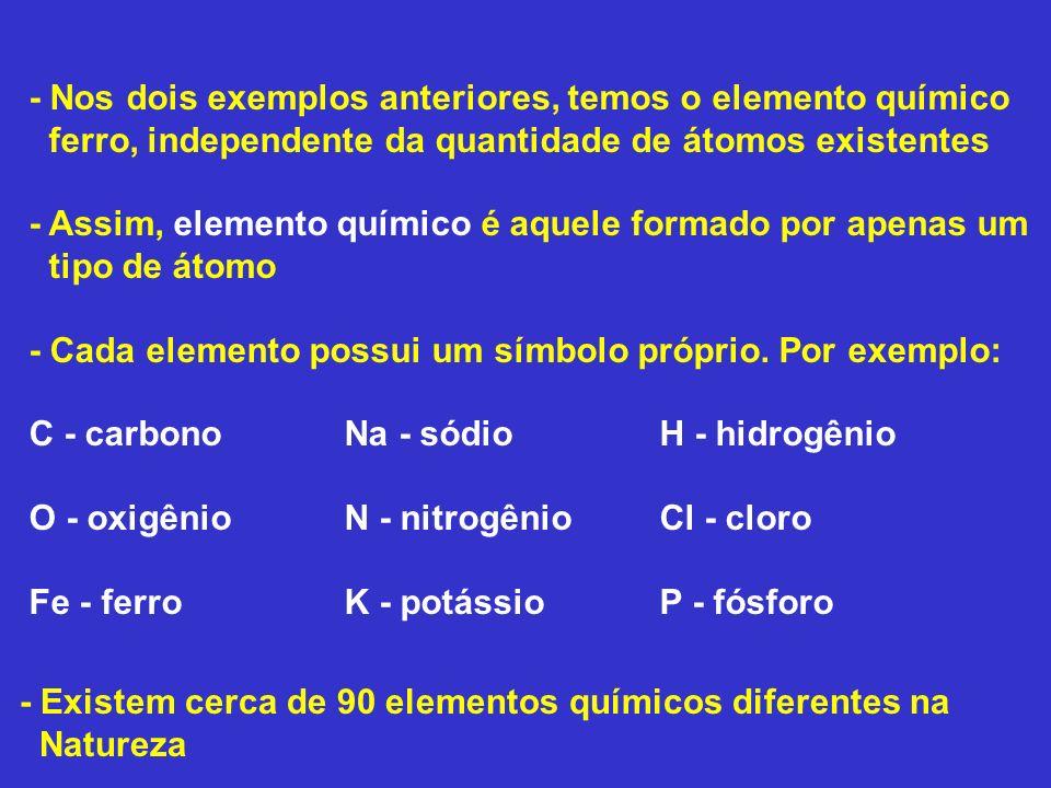 - Nos dois exemplos anteriores, temos o elemento químico