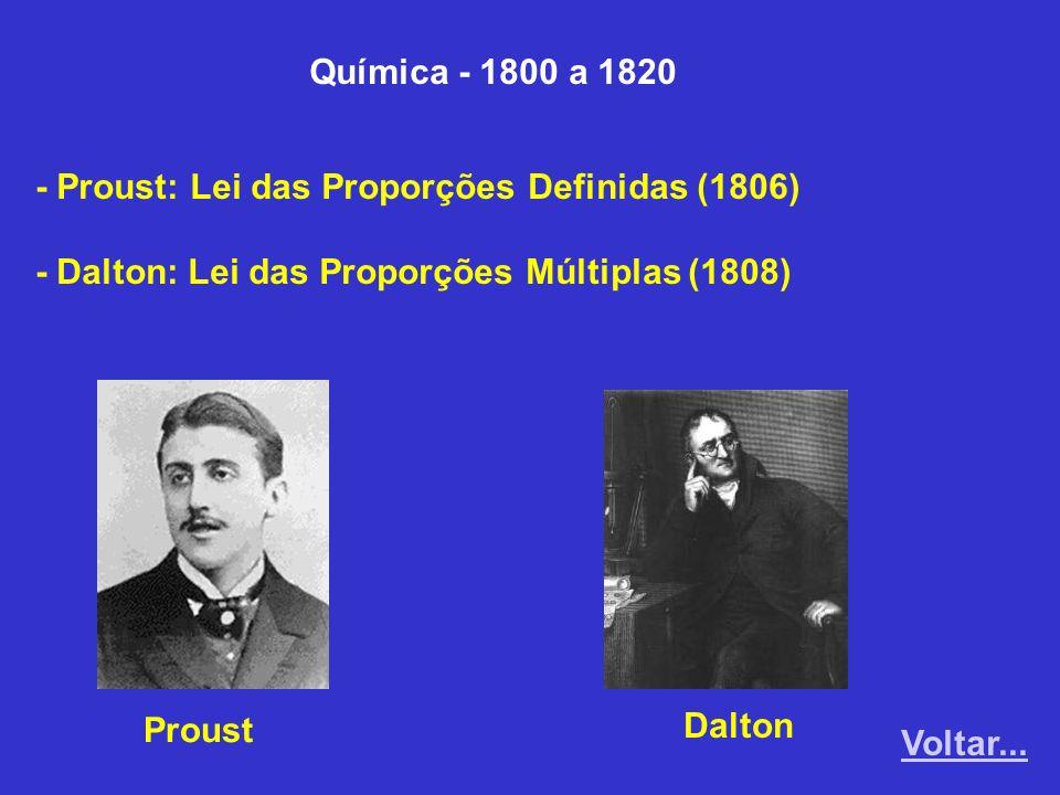 Química - 1800 a 1820 - Proust: Lei das Proporções Definidas (1806) - Dalton: Lei das Proporções Múltiplas (1808)