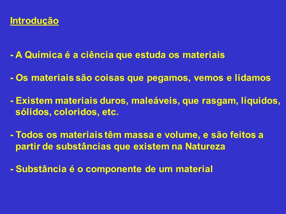 Introdução - A Química é a ciência que estuda os materiais. - Os materiais são coisas que pegamos, vemos e lidamos.
