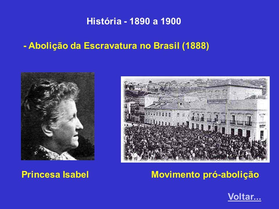 História - 1890 a 1900 - Abolição da Escravatura no Brasil (1888) Princesa Isabel. Movimento pró-abolição.