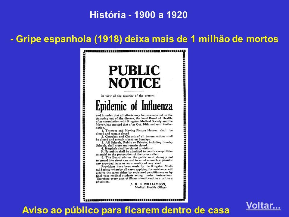 História - 1900 a 1920 - Gripe espanhola (1918) deixa mais de 1 milhão de mortos.