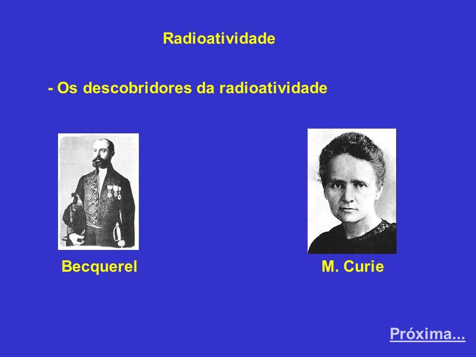 Radioatividade - Os descobridores da radioatividade Becquerel M. Curie Próxima...