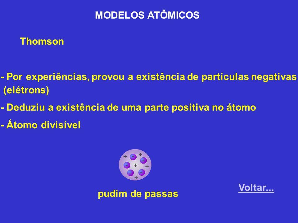 MODELOS ATÔMICOS Thomson. - Por experiências, provou a existência de partículas negativas. (elétrons)