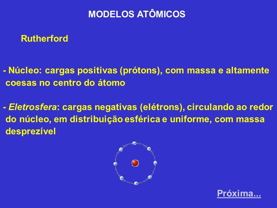 MODELOS ATÔMICOS Rutherford. - Núcleo: cargas positivas (prótons), com massa e altamente. coesas no centro do átomo.