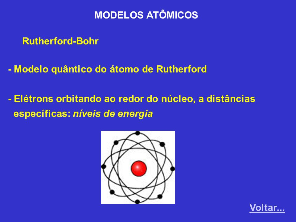 MODELOS ATÔMICOS Rutherford-Bohr. - Modelo quântico do átomo de Rutherford. - Elétrons orbitando ao redor do núcleo, a distâncias.