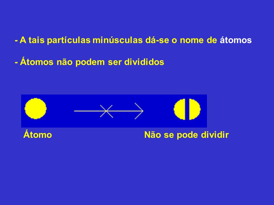 - A tais partículas minúsculas dá-se o nome de átomos