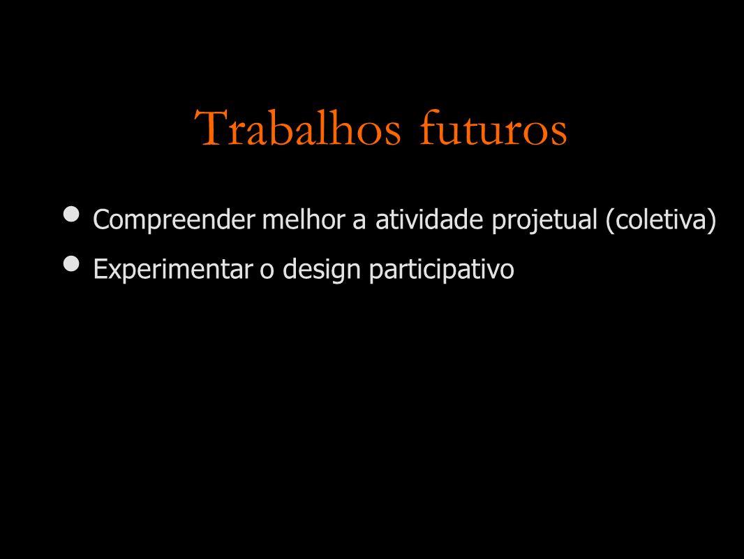 Trabalhos futuros Compreender melhor a atividade projetual (coletiva)