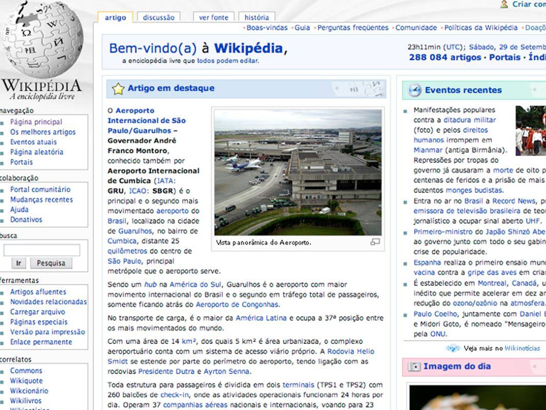 Página inicial da Wikipedia em português