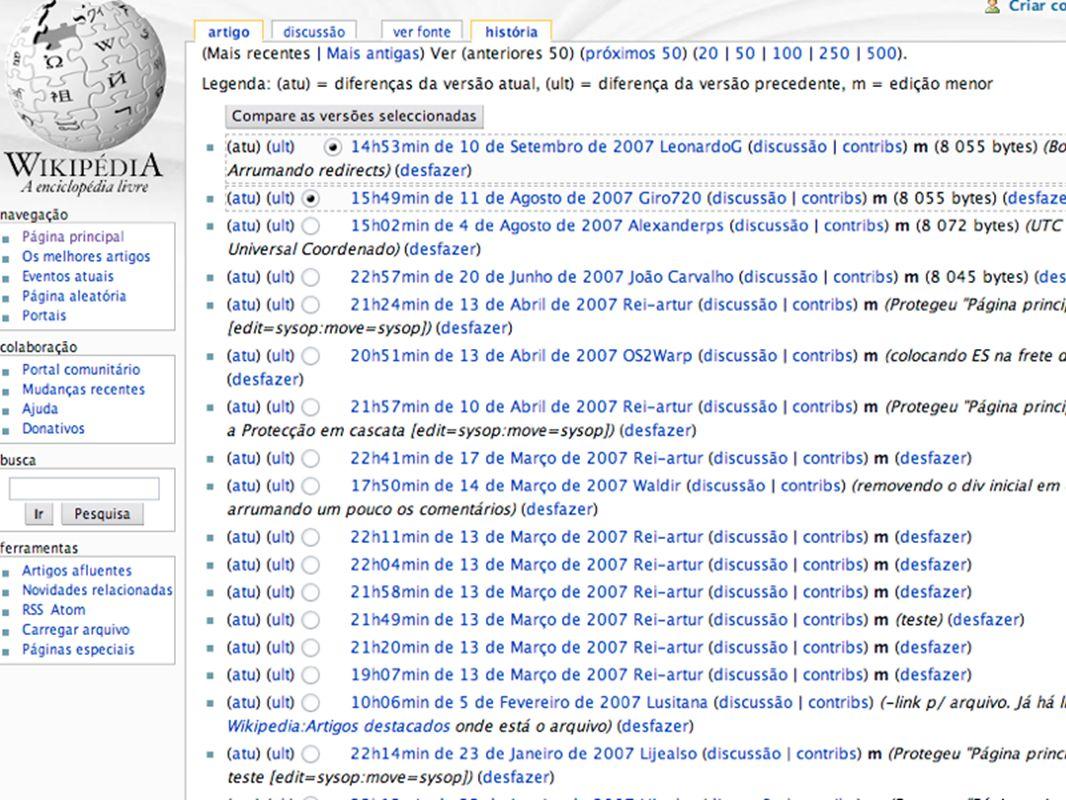 Histórico de alterações da Página inicial da Wikipedia em português