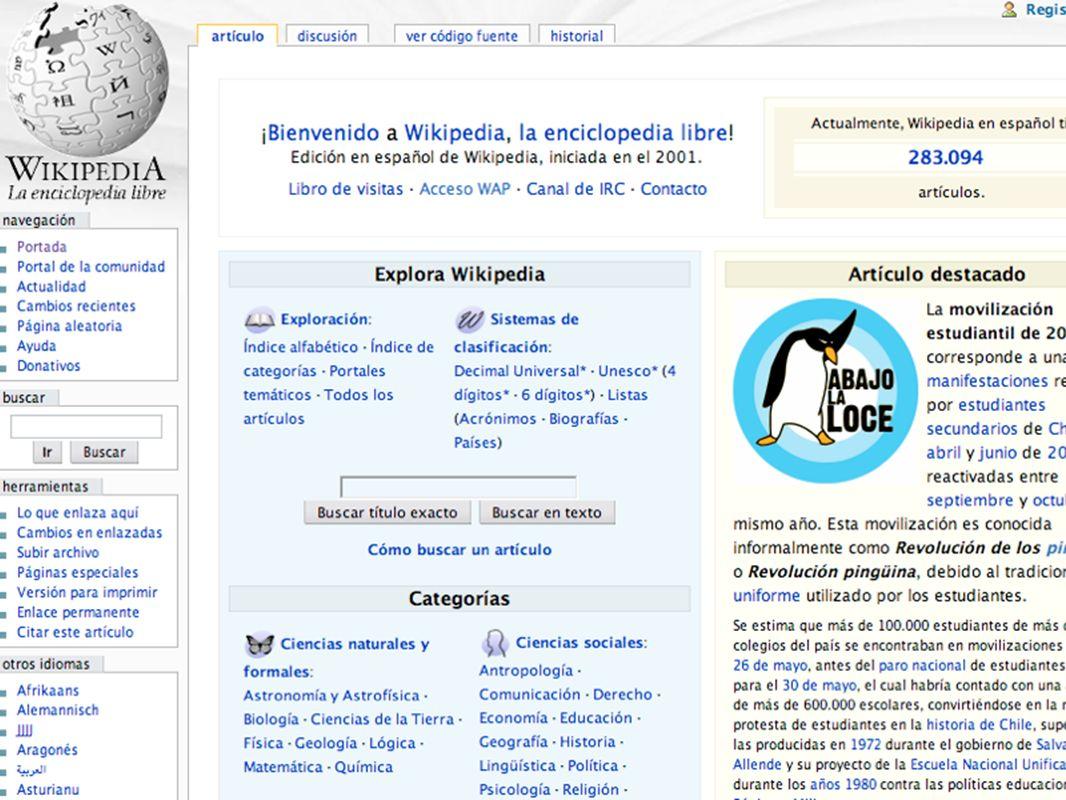 Página inicial da Wikipedia em espanhol possui um layout diferente da versão em português porque ambos são criados pelos contribuidores