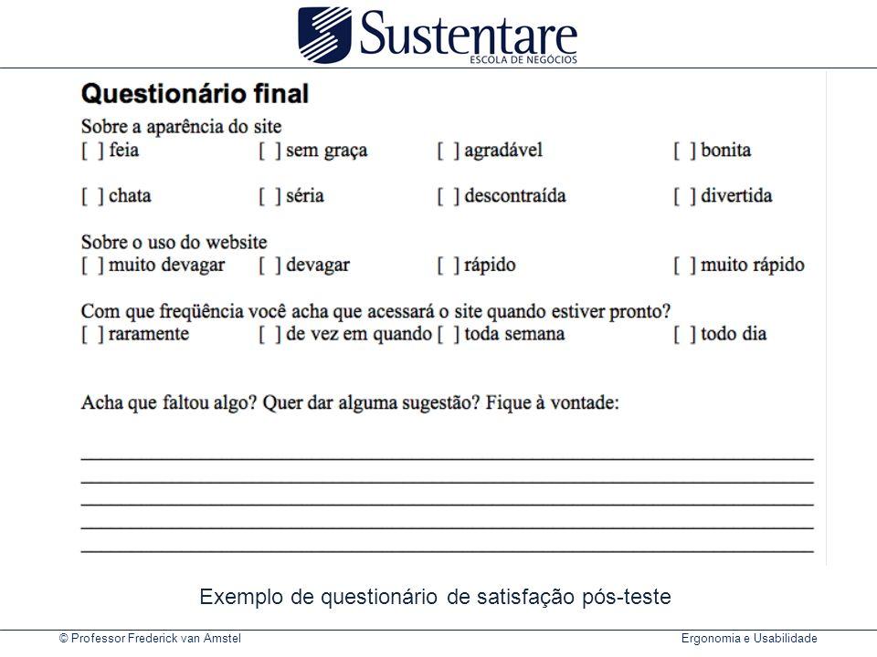 Exemplo de questionário de satisfação pós-teste
