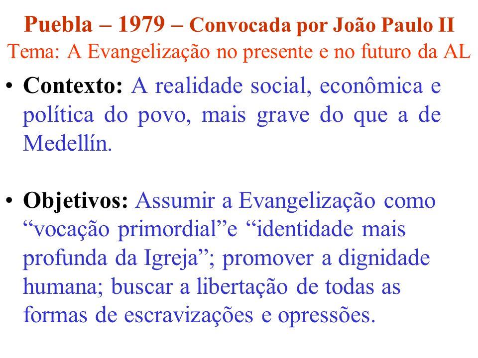 Puebla – 1979 – Convocada por João Paulo II Tema: A Evangelização no presente e no futuro da AL