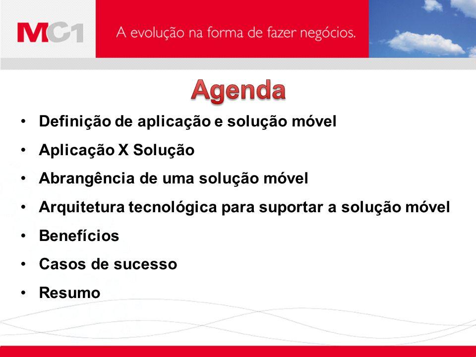 Agenda Definição de aplicação e solução móvel Aplicação X Solução