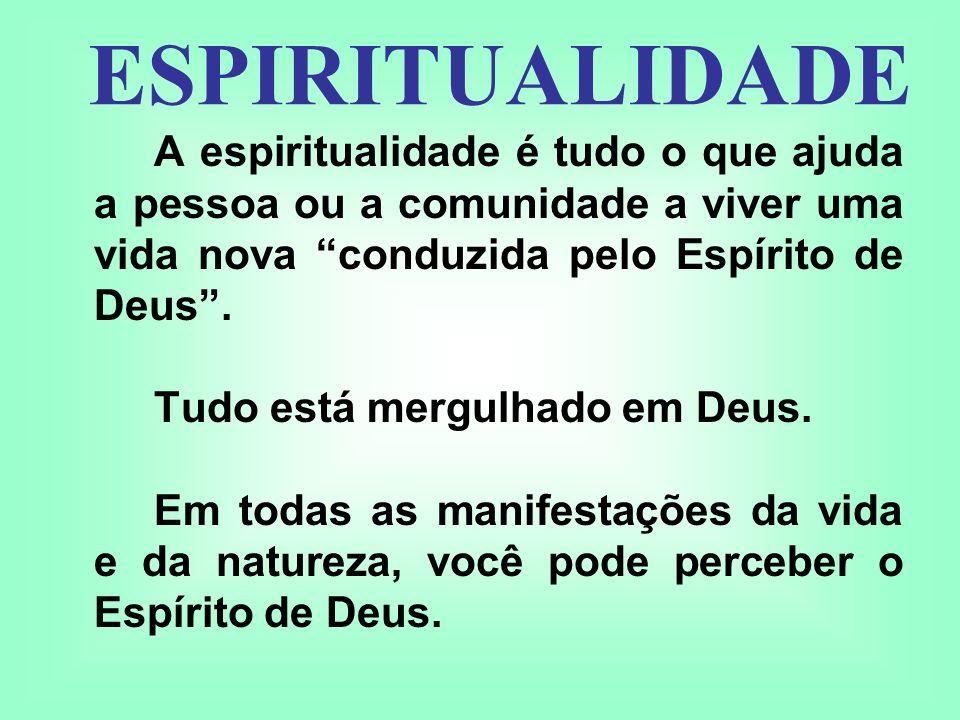 ESPIRITUALIDADE A espiritualidade é tudo o que ajuda a pessoa ou a comunidade a viver uma vida nova conduzida pelo Espírito de Deus .