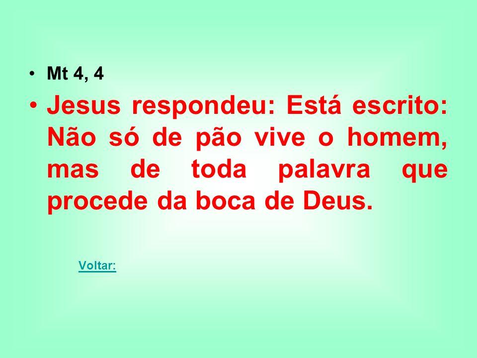 Mt 4, 4 Jesus respondeu: Está escrito: Não só de pão vive o homem, mas de toda palavra que procede da boca de Deus.