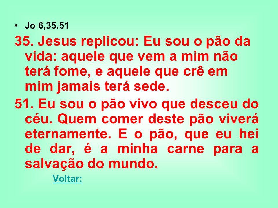 Jo 6,35.5135. Jesus replicou: Eu sou o pão da vida: aquele que vem a mim não terá fome, e aquele que crê em mim jamais terá sede.