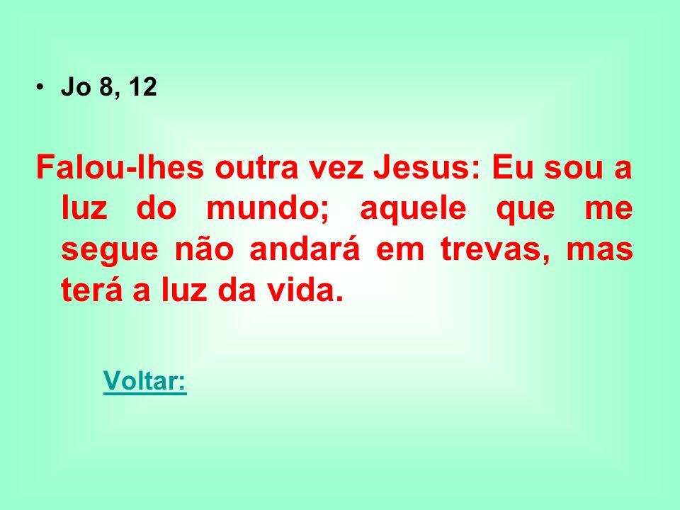 Jo 8, 12Falou-lhes outra vez Jesus: Eu sou a luz do mundo; aquele que me segue não andará em trevas, mas terá a luz da vida.