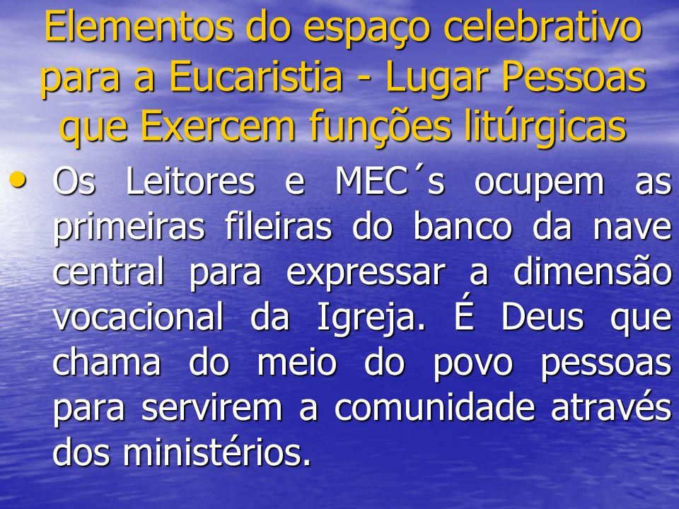 Elementos do espaço celebrativo para a Eucaristia - Lugar Pessoas que Exercem funções litúrgicas
