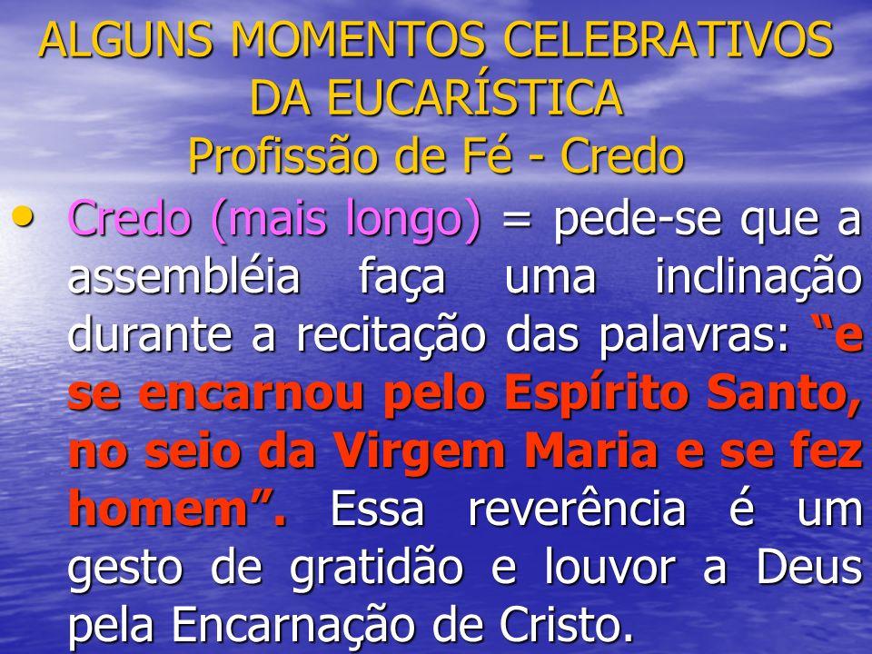 ALGUNS MOMENTOS CELEBRATIVOS DA EUCARÍSTICA Profissão de Fé - Credo