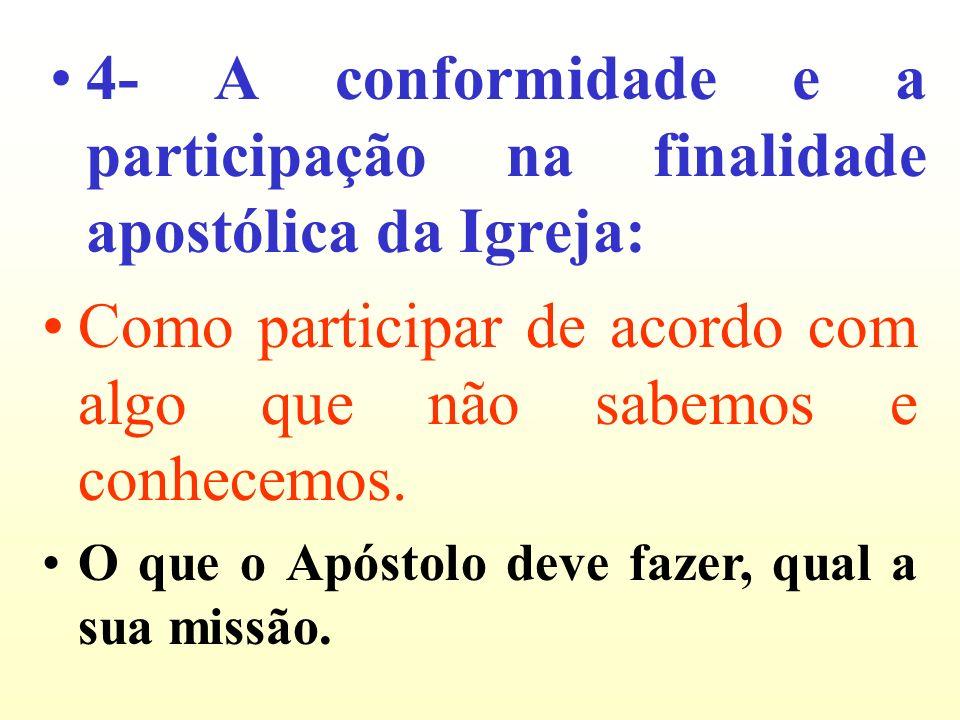 4- A conformidade e a participação na finalidade apostólica da Igreja: