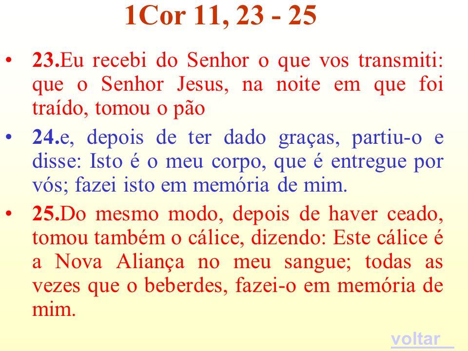 1Cor 11, 23 - 25 23.Eu recebi do Senhor o que vos transmiti: que o Senhor Jesus, na noite em que foi traído, tomou o pão.