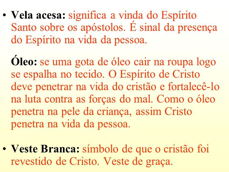 Vela acesa: significa a vinda do Espírito Santo sobre os apóstolos