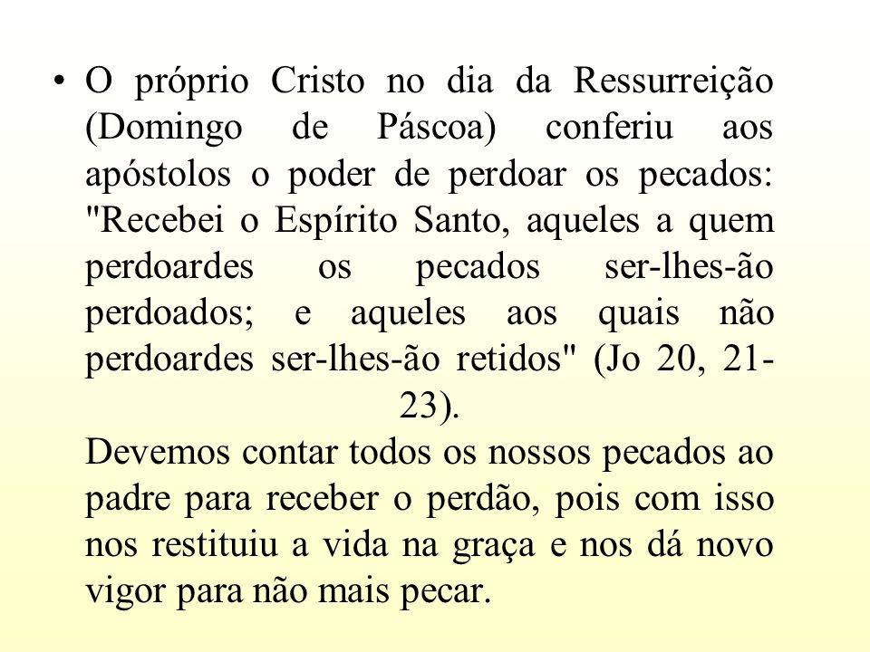 O próprio Cristo no dia da Ressurreição (Domingo de Páscoa) conferiu aos apóstolos o poder de perdoar os pecados: Recebei o Espírito Santo, aqueles a quem perdoardes os pecados ser-lhes-ão perdoados; e aqueles aos quais não perdoardes ser-lhes-ão retidos (Jo 20, 21- 23).