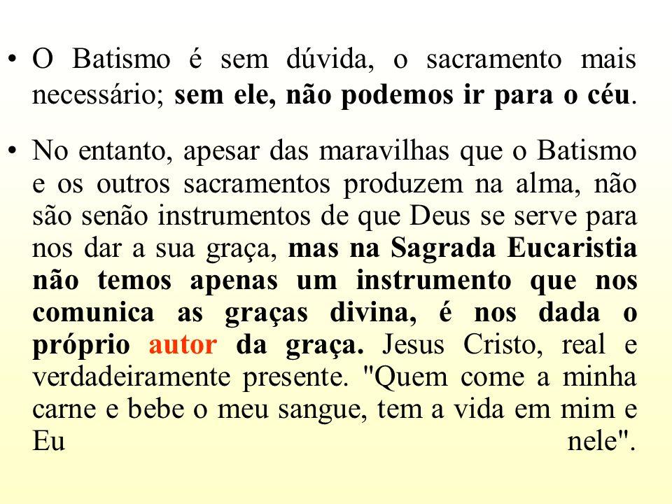 O Batismo é sem dúvida, o sacramento mais necessário; sem ele, não podemos ir para o céu.