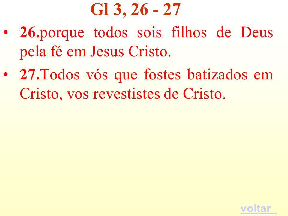 Gl 3, 26 - 27 26.porque todos sois filhos de Deus pela fé em Jesus Cristo. 27.Todos vós que fostes batizados em Cristo, vos revestistes de Cristo.