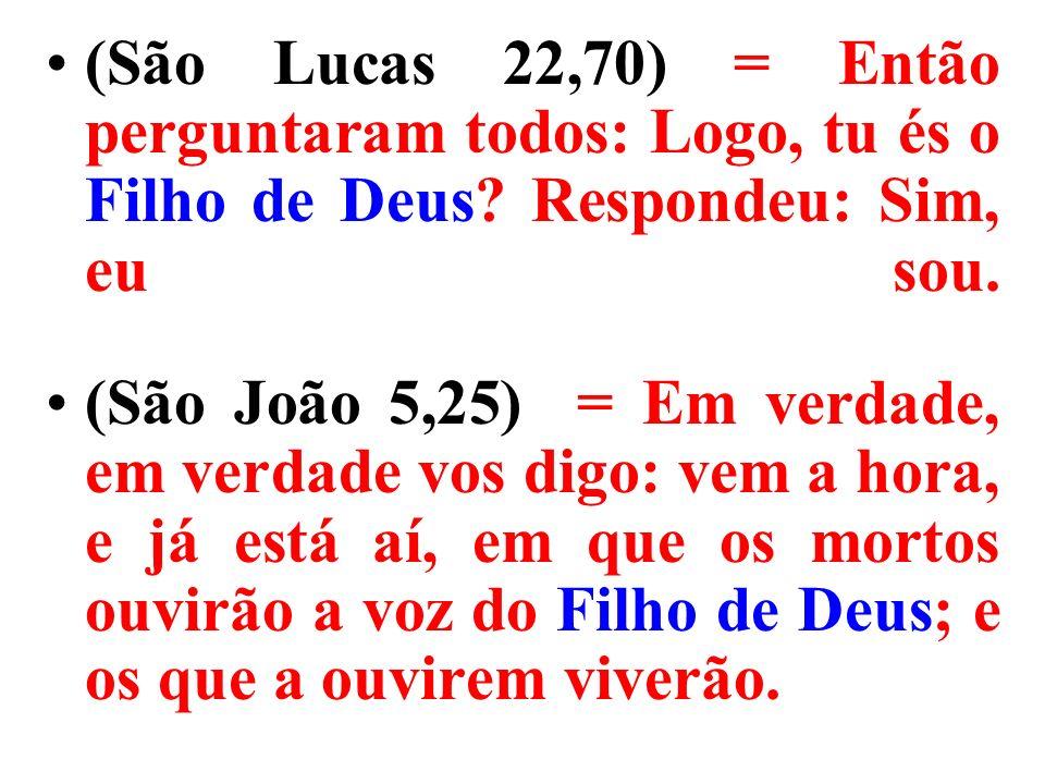 (São Lucas 22,70) = Então perguntaram todos: Logo, tu és o Filho de Deus Respondeu: Sim, eu sou.