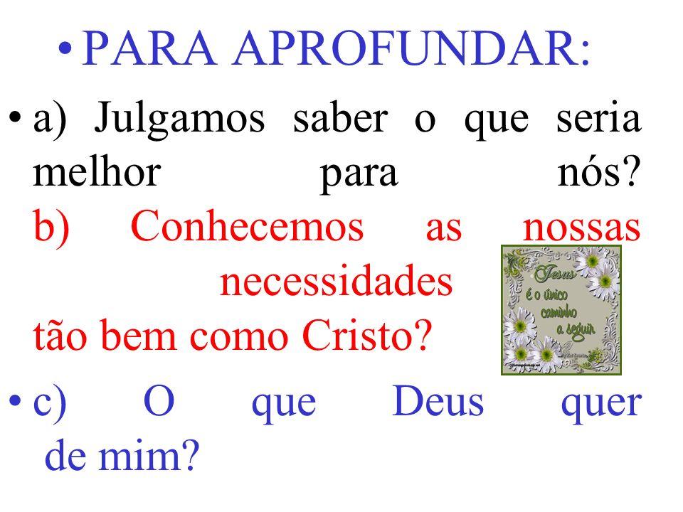 PARA APROFUNDAR: a) Julgamos saber o que seria melhor para nós b) Conhecemos as nossas necessidades tão bem como Cristo