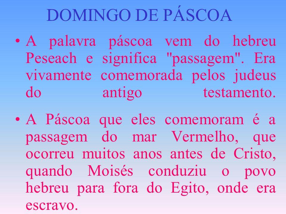 DOMINGO DE PÁSCOAA palavra páscoa vem do hebreu Peseach e significa passagem . Era vivamente comemorada pelos judeus do antigo testamento.