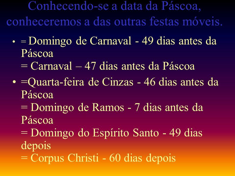 Conhecendo-se a data da Páscoa, conheceremos a das outras festas móveis.