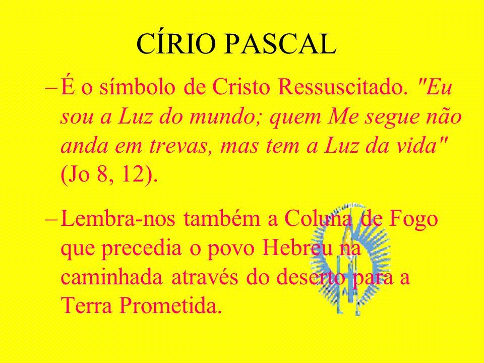 CÍRIO PASCAL É o símbolo de Cristo Ressuscitado. Eu sou a Luz do mundo; quem Me segue não anda em trevas, mas tem a Luz da vida (Jo 8, 12).