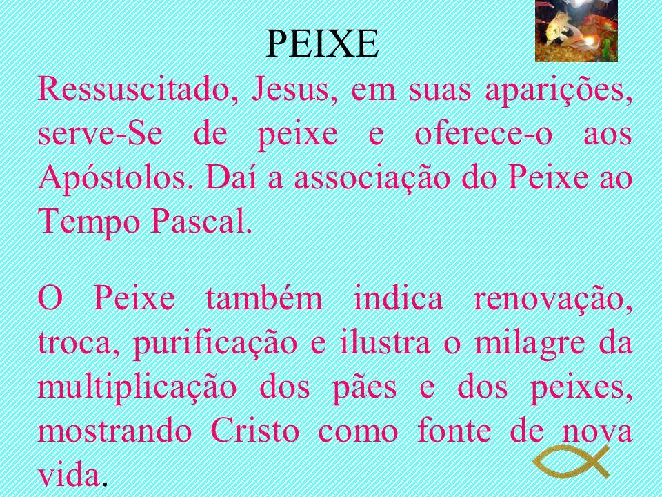 PEIXE Ressuscitado, Jesus, em suas aparições, serve-Se de peixe e oferece-o aos Apóstolos. Daí a associação do Peixe ao Tempo Pascal.