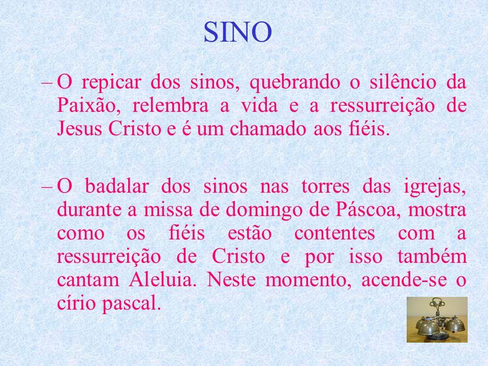SINO O repicar dos sinos, quebrando o silêncio da Paixão, relembra a vida e a ressurreição de Jesus Cristo e é um chamado aos fiéis.