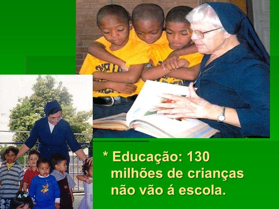 * Educação: 130 milhões de crianças não vão á escola.
