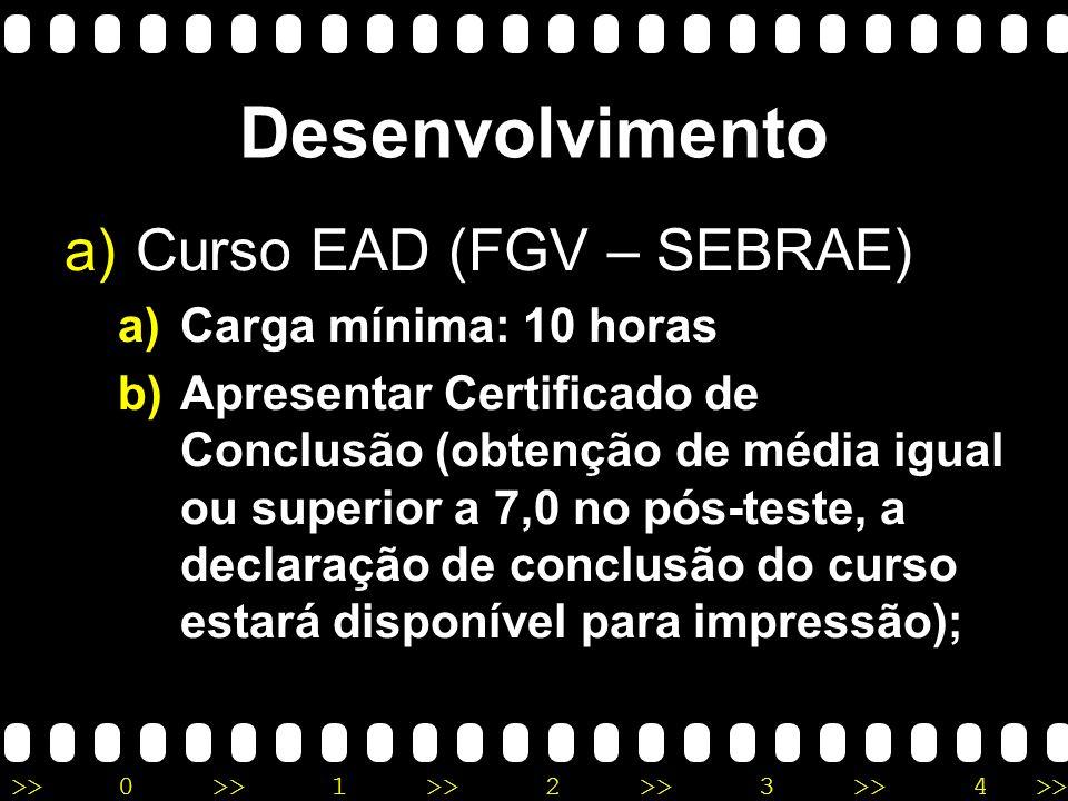 Desenvolvimento Curso EAD (FGV – SEBRAE) Carga mínima: 10 horas