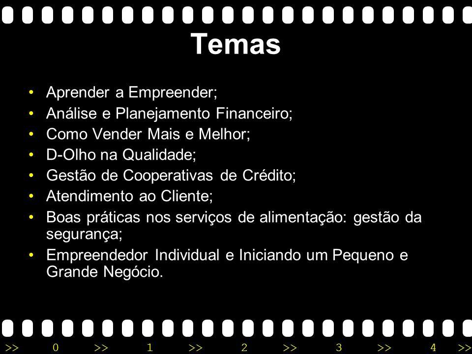 Temas Aprender a Empreender; Análise e Planejamento Financeiro;